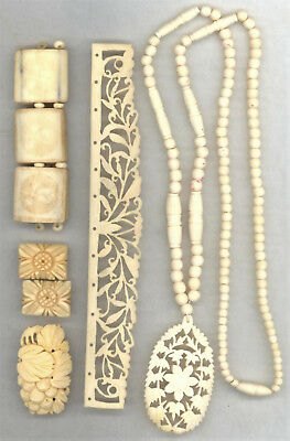 Vintage Carved Bovine Bone & Horn Lot: Jewelry, etc.
