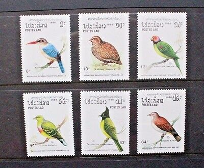 LAOS 1988 Birds Parakeet Pigeon. Set of 6. Mint Never Hinged. SG1093/1098.
