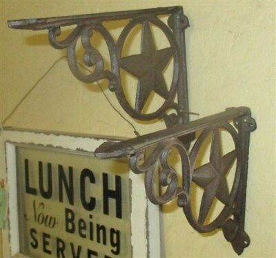 2 Elegant Eastlake Rustic Cast Iron Shelf Brackets Art Deco Ornate Clock Wall p
