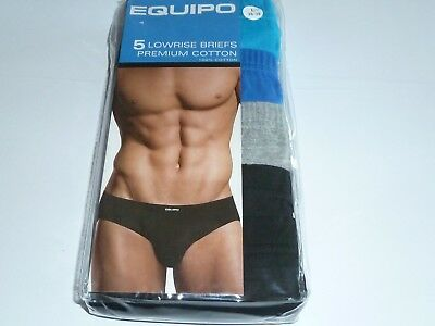 Equipo Lowrise 100% Cotton Briefs Mens Low Rise 5 Pack  XL 40 42 NWT Bikini