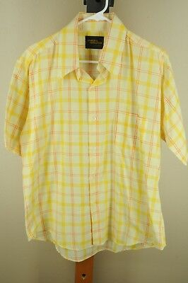 Vintage Men's Yellow & Orange Short Sleeve Poly Cotton 50's Casual Shirt L Large