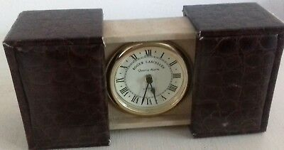 Roger Lascelles  of London Leather  Bound  Brass Travel  Clock