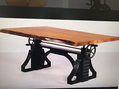 Industrial Iron Crank Table Live Edge Acacia Top Industrial