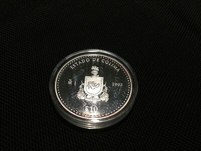 Mexico 2005 BU 1 Troy oz .999 Proof Silver Onza $10 Pesos Estado Colima KM# 728