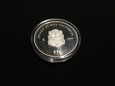 Mexico 2005 BU 1 oz 999 Proof.Silver Onza 10 Pesos Estado Baja California KM#722
