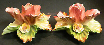 """Vintage Pair of Beautiful Porcelain Orchid Candleholders 2.75"""" x 5.25"""" Good Cond"""