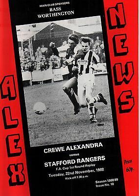 1988/89 Crewe Alexandra v Stafford Rangers, FA Cup, PERFECT CONDITION