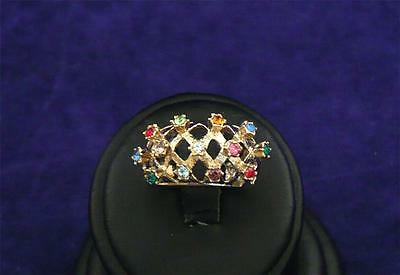 Vintage Signed 18Kt Gold Hge Ring Retro Cocktail Multi Rhinestones Madiera Sz 6
