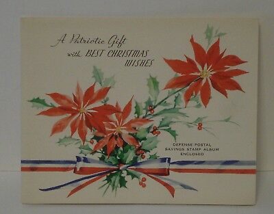 1941 UNITED STATES PATRIOTIC DEFENSE SAVINGS BOND BOOK unUSed  CHRISTMAS CARD