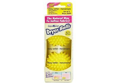 Dryer Max Set of 2 Laundry Dryer Balls Reusable, pick your color blue or yellow