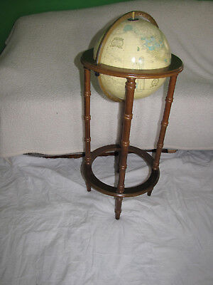 """Vintage 1990-1993 Cram's Imperial 11"""" World Globe - Wooden Floor Stand 35"""" Tall"""