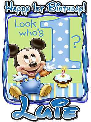 Baby Mickey Mouse Birthday Party t Shirt Iron On Transfer Custom Decal