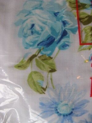Vintage Blue Rose FULLFlat Sheet No Iron Shabby Chic Sealed New Cotton/Polyester