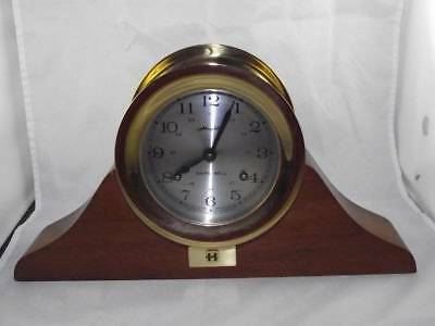 Vintage Airguide Brass Ships Bell Clock With Wood Stand From Harris Corporation
