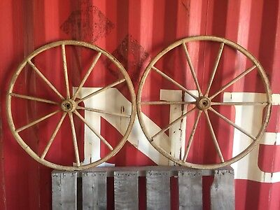 "Pair of Vintage Antique 30.5"" Used Wooden Carriage Buggy Wagon Wheels 10 Spokes"