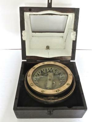 Early 1868 E.S.RICHIE Boston Brass Ship Compass in Wood Binnacle Case No Reserve