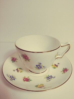 Crown Staffordshire Rose Pansy Fine Bone China Vintage Tea Set.