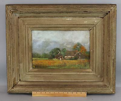Antique WILLIAM BIXBEE Impressionist Country Farmhouse Landscape Oil Painting NR
