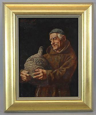 19thC Sm Antique ARNALDO TAMBURINI Italian Monk & Wine Cellar Genre Oil Painting