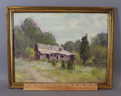 Vintage HARRY BARTON Impressionist Country Landscape Shack Oil Painting NR