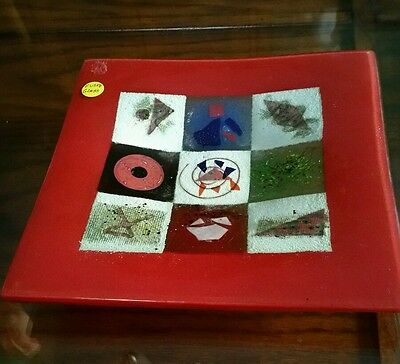 Fused Glass Plate Dish Deco Art Glass Squares Red Multi Colored