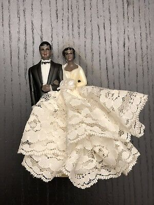 Vintage 1960s Wedding Cake Topper African Americana Black Lace Tulle Bride Groom
