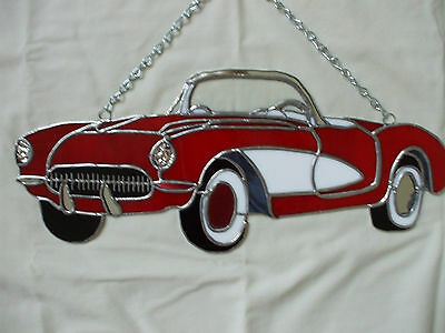 Handmade Leaded Stained Glass 1957 Corvette Wall Hanging or Sun Catcher