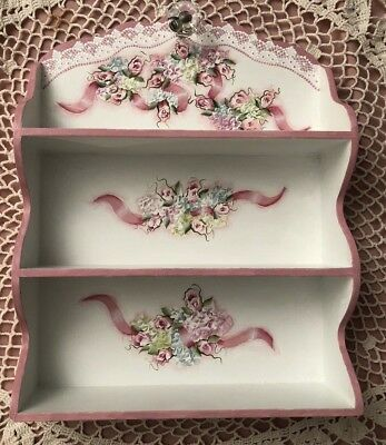 Hand Painted Vintage Shelf Wood Pink Rose Hydrangea Cottage Chic Shabby Lace HP