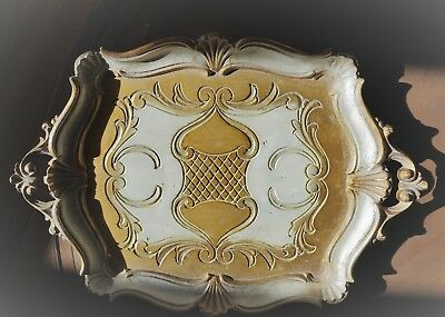 """Vintage Italian Scalloped Wood Hand Painted Tray 16.5 x 11.75"""""""