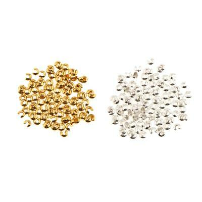 20PCS Silver Gold 3mm End Crimp Beads Knot Covers Jewelry Finding Craft DIY