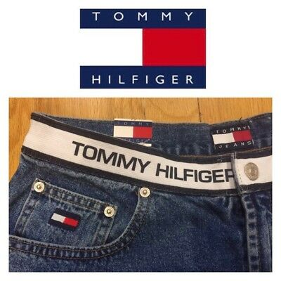 Vtg 90 TOMMY HILFIGER Spell Out Mom Jeans Denim SHORTS Size 12  Box Logo Women's