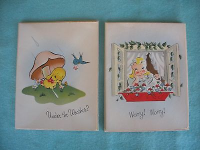 2 Vintage 1940s Greeting Cards Created by Hobby Unused w Envelopes Add Message