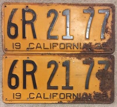 Pair of Antique / Vintage 1932 California Yellow and Black License Plates
