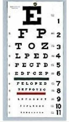 "1 Wall Snellen Eye Exam Vision Test Chart 22"" x 11"" US Seller Free Ship #EC-WSN"