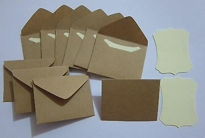 "Handmade small envelopes 1-1/2""x2"" tiny little mini KRAFT brown paper cute envie"