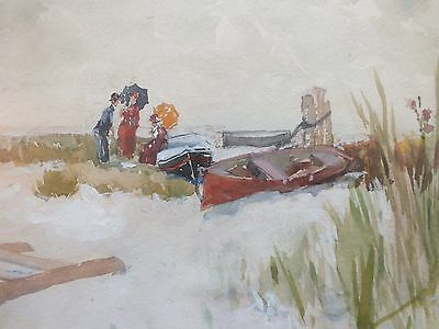 W CRANE signed original old antique watercolor painting Victorian Beach figures