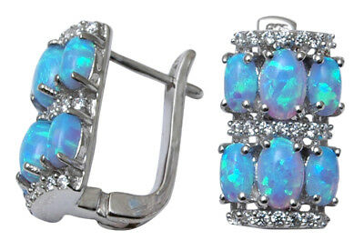 925 Sterling Silver Blue Fire Opal Stone Women Party Stud Earring Set Jewelry