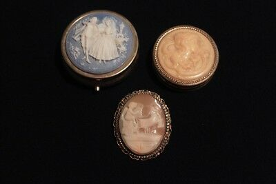 Lot of 3 PC Cameo Carving Mint / Trinket Box, Makeup / Powder Box, and Pin