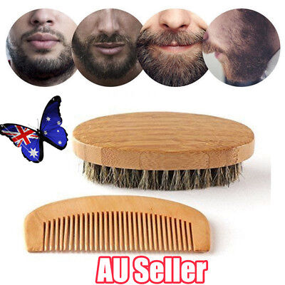 Mens Wooden Beard Brush Comb Pocket Grooming Comb With Long Wooden
