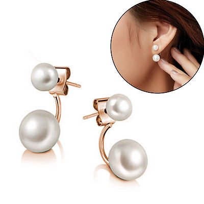 c0a4b7685 Fashion Charm Women Gold Plated Double Sided Faux Pearl Ear Stud Earrings  Gift