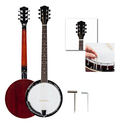 New High Quality Sapele and Alloy 6-string White and Dark Golden Banjo