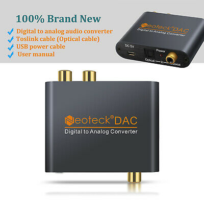 Digital to Analog Audio Converter Adapter 3.5mm Jack RCA Optical Coaxial  Cable