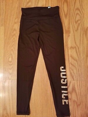 NWT JUSTICE Girls Leggings Black with Glittery Logo, SELECT SIZE