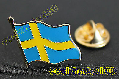Sweden National Flag Waving Metal Lapel Pin Badge