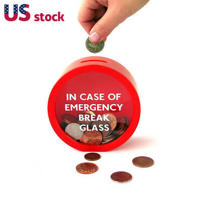 Novelty Safe Red Money Box Saving Bank Emergency Coin Smash Piggy Bank New