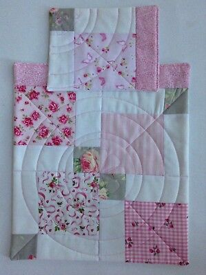 Doll's Quilt & Pillow set Pink/white/ grey floral fabric Pram Cot Handmade girl