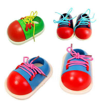1pc Kid Children Montessori Wooden Toy Toddler Lacing Shoes Early Education Aids