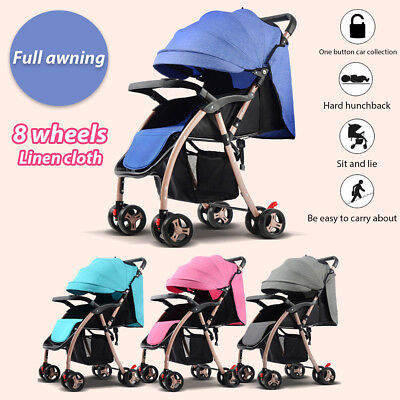 Foldable Elastic Baby Stroller Buggy Pram Travel Child Pushchair With Awning Hot