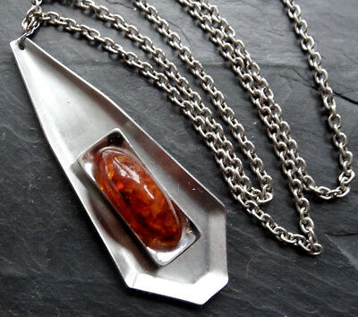 vintage Baltic amber cabochon modernist stainless steel pendant necklace -A451