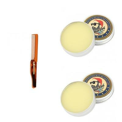 2 Sandalwood Beard Cream Balm Moustache Taming Wax Oil+Styling Folding Comb